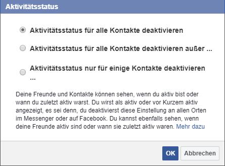 Online status facebook verbergen app